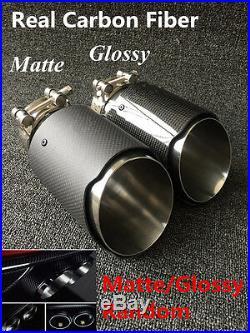 1x100% Real Carbon Fiber Glossy/Matte Car MODIFIDE MUFFLER Pipe Exhaust Tip 63MM