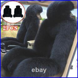 2PCS Genuine Australian Sheepskin Fur Long Wool Car SUV Front Seat Cushion Cover