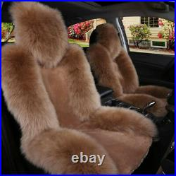 2pcs Genuine Australian Sheepskin Fur Car Front Seat Cover Long Wool Winter Warm