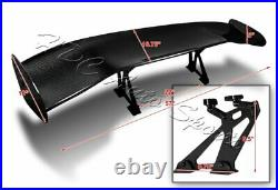57 TYPE-2 3D Real Carbon Fiber Adjustable Rear Trunk GT Spoiler Wing Universal