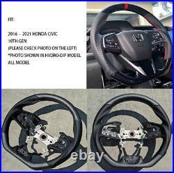 For 2016-2021 Honda Civic Gen 10th Real Carbon Fiber Steering Wheel Type-R MATTE