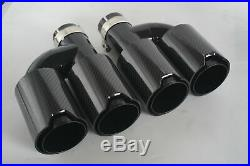 Full Glossy Real Carbon Fiber Exhaust Pipe Tips 63mm Inlet Dual-Wall Black
