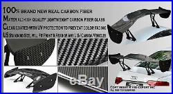 Jdm Real Carbon Fiber Gt Style 57 Racing Rear Back Spoiler / Wing+brackets R44