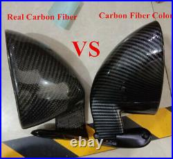 Real Carbon Fiber Side Wing Mirror Rear View for Hot Rod Vintage Car Modified 2x